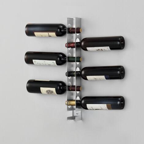 Porte-Bouteilles Stylé Range-Bouteilles Étagère Murale Rangement pour 6 Bouteilles de Vin Inox Brossé 55 x 5 x 7 cm Argenté