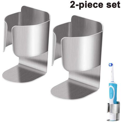 Porte-brosse à dents 2 pièces pour brosse à dents électrique Auto-adhésif en acier inoxydable Soutienmural de brosse à dents de salle de bain Soutienmural durable Pâte de cuisine de salle de bain, sans percer