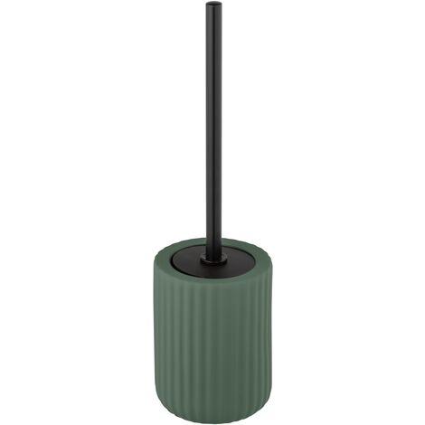 Porte brosse WC céramique avec brosse WC noire, Belluno, vert