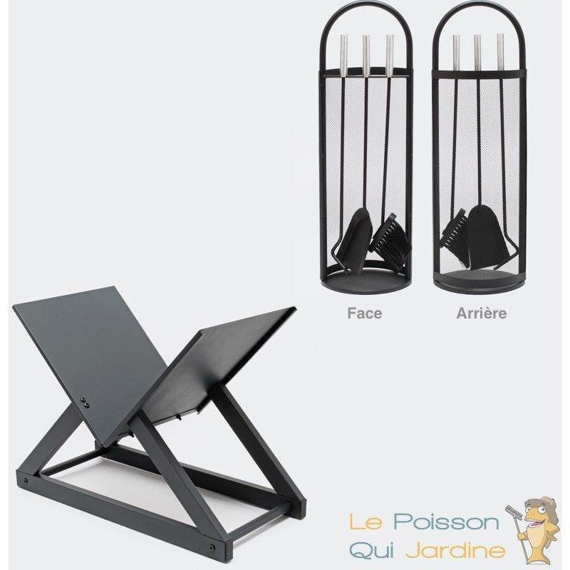 Porte bûches en acier Design + 1 serviteur de cheminée 3 instruments et  support