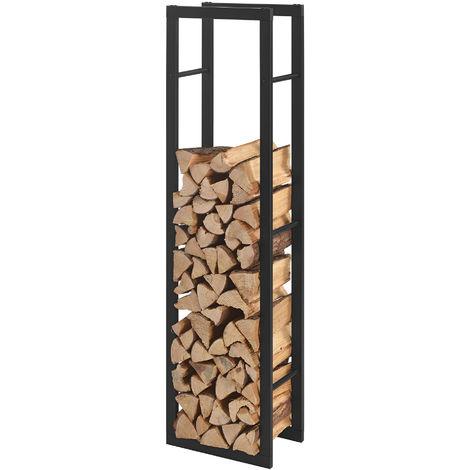 Porte-bûches Étagère en métal pour bois de cheminée Rangement de bûches Acier Noir 40x150x25cm