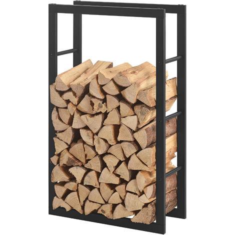 Porte-bûches Étagère en métal pour bois de cheminée Rangement de bûches Acier Noir 60x100x25cm