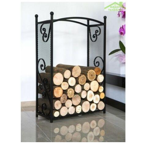 Porte bûches rectangulaire en acier noir CHERRY 90x60x25 cm