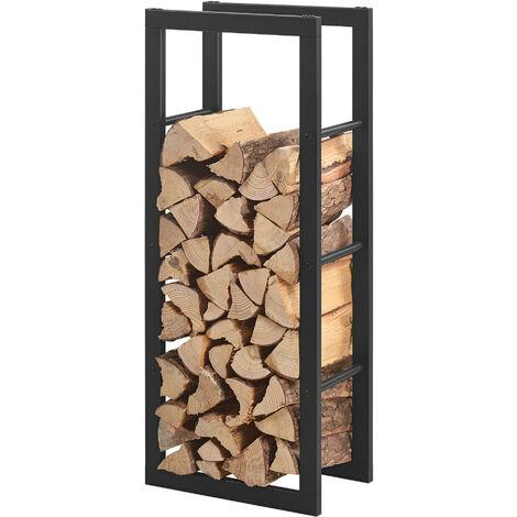 Porte-Bûches Robuste Range-Bûches Solide Support pour Bois de Chauffage Rangement Efficace pour Intérieur Extérieur Acier Laqué 40 x 100 x 25 cm Noir
