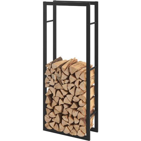Porte Buches Robuste Range Buches Solide Support Pour Bois De Chauffage Rangement Efficace Pour Interieur Exterieur Acier Laque 60 X 150 X 25 Cm Noir 57591471