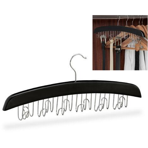 Porte-ceinture, armoire, dressing, 12 crochets rotatifs à 360°, bois, 17,5 x 43 x 5,5 cm, noir/argenté