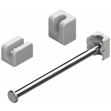 Porte-cintres escamotable - acier chrom et pvc noir - Finition : Poli - Matriau : Acier inoxydable - Hauteur : 44 mm - Profondeur : 221 mm - Largeur : 35 mm - MENAGE&CONFORT