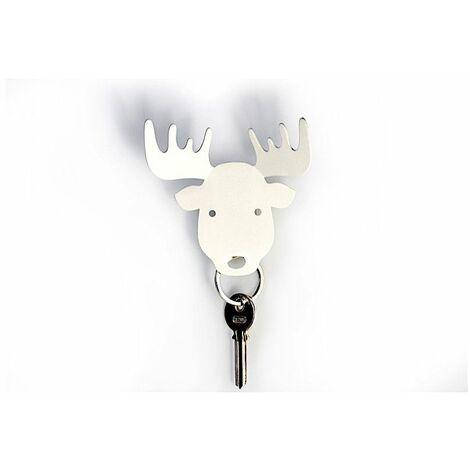Porte clé en forme de renne - L 5x l 5 x H 2,5 cm - Blanc