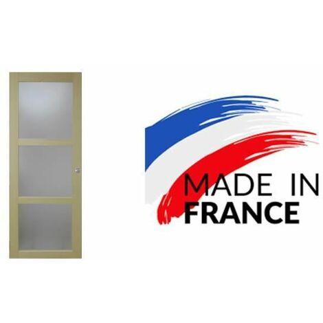 PORTE COULISSANTE 3 CARREAUX PLACAGE AYOUS largeur 83 FABRIQUE ET ENVOYE DEPUIS LA France
