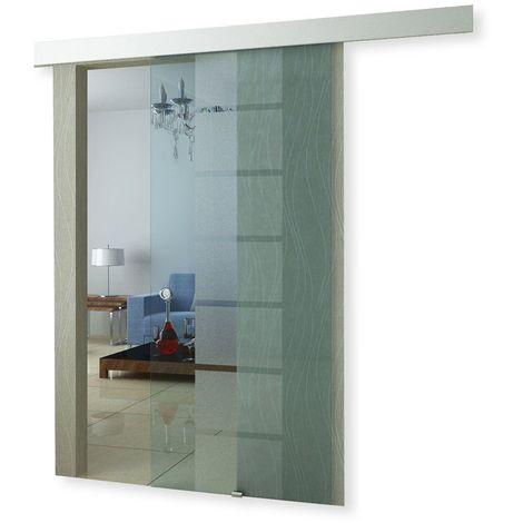 Porte coulissante en verre à galandage