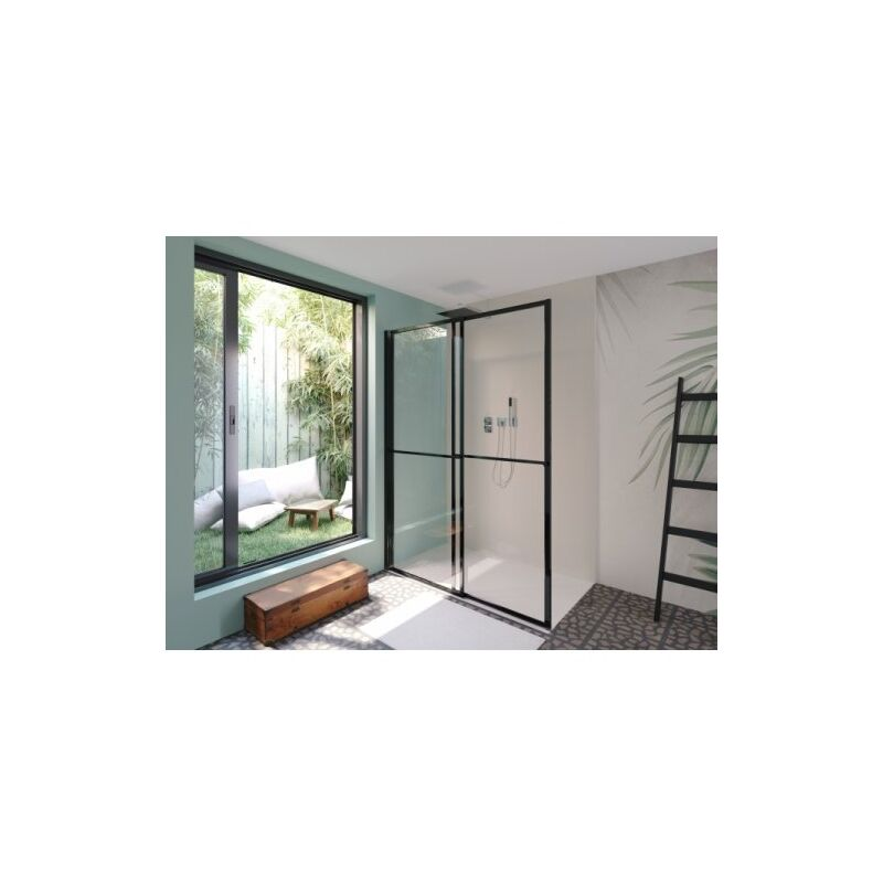 Porte coulissante et pivotante SECURE Noir mat - L140 cm