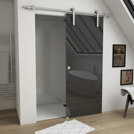 Porte coulissante intérieur en verre trempé 8mm - 204x83 cm - LOOKING 83