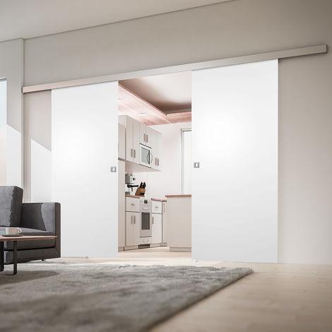 Porte coulissante intérieure 176 x 203 cm, bois blanc, 2 vantaux
