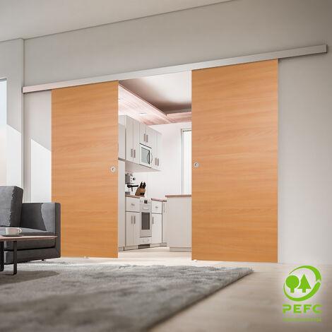 Porte coulissante intérieure 176 x 203 cm, bois hêtre, 2 vantaux