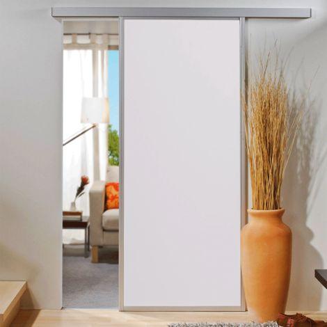 Porte coulissante intérieure en bois Inova, 74 x 203 cm, verre blanc mat, cadre alu