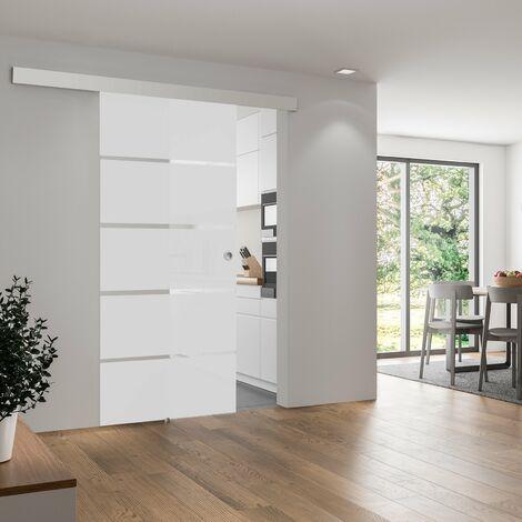 Porte coulissante intérieure en verre dépoli Inova, 75 x 203 cm - Made in Germany - 3 poignées différentes, fermeture Softclose en option, fermeture Softclose en option
