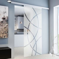 Porte coulissante intérieure en verre Inova, 75 x 203 cm, porte vitrée décor cercles, 3 poignées différentes, fermeture Softclose en option