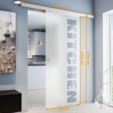 Porte coulissante intérieure en verre Inova, 75 x 203 cm, porte vitrée opaque à personnaliser, 3 poignées différentes, fermeture Softclose en option