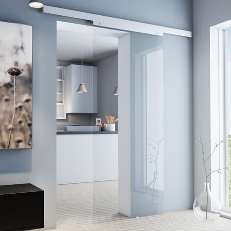 Porte coulissante intérieure en verre Inova, 75 x 203 cm, porte vitrée transparente, 3 poignées différentes, fermeture Softclose en option