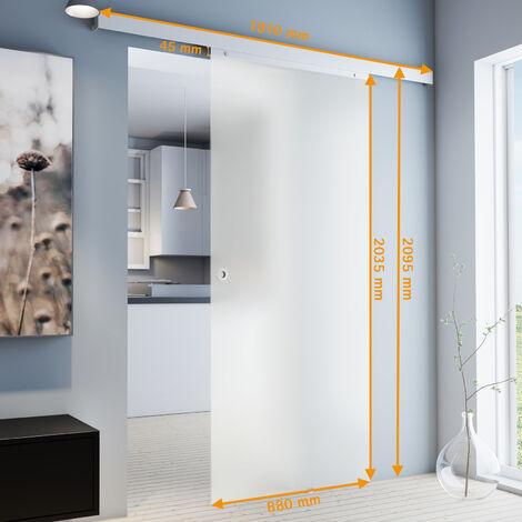 Porte coulissante intérieure en verre Inova, 77 x 203 cm, porte vitrée opaque, poignée ronde, fermeture Softclose en option