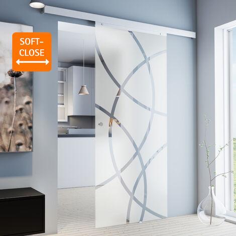 Porte coulissante intérieure en verre Inova, 88 x 203 cm, porte vitrée décor cercles, 3 poignées au choix, fermeture Softclose en option