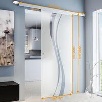 Porte coulissante intérieure en verre Inova, 88 x 203 cm, porte vitrée décor vagues, 3 poignées différentes, fermeture Softclose en option