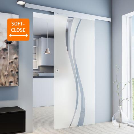 """main image of """"Porte coulissante intérieure en verre Inova, 88 x 203 cm, porte vitrée décor vagues, 3 poignées différentes, fermeture Softclose en option"""""""