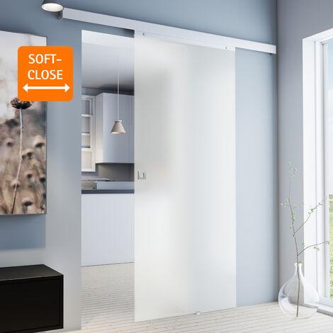 Porte coulissante intérieure en verre Inova, 88 x 203 cm, porte vitrée opaque, 3 poignées différentes, fermeture Softclose en option