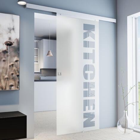Porte coulissante intérieure en verre Inova, 88 x 203 cm, porte vitrée opaque à personnaliser, 3 poignées différentes, fermeture Softclose en option