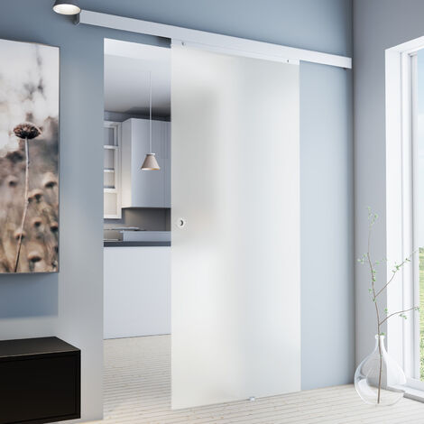Porte coulissante intérieure en verre Inova, 90 x 203 cm, porte vitrée opaque, poignée ronde, fermeture Softclose en option
