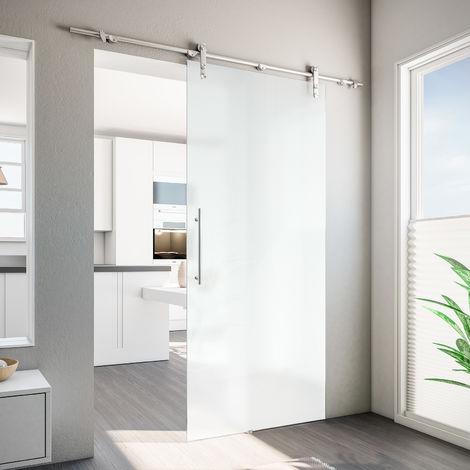 Porte coulissante intérieure en verre opaque Inova, 90 x 208 cm, rail apparent arrondi, poignée barre, verre 8 mm