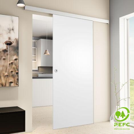Porte coulissante intérieure Inova, 102 x 220 cm, bois blanc, 2 poignées différentes, fermeture Softclose en option