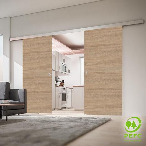 Porte coulissante intérieure Inova, 151 x 203 cm, chêne, 2 vantaux, 2 poignées différentes