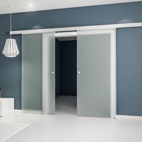 Porte coulissante intérieure Inova, 176 x 203 cm, 2 vantaux, verre de sécurité opaque