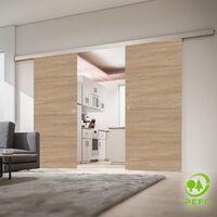 Porte coulissante intérieure Inova, 176 x 203 cm, chêne, 2 vantaux, 2 poignées différentes