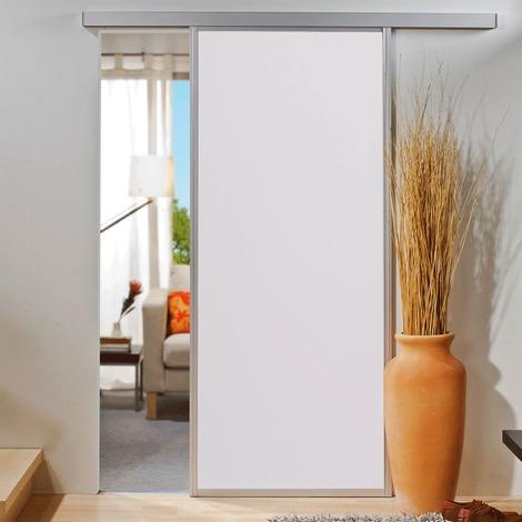Porte coulissante intérieure Inova, 74 x 203 cm, bois blanc, cadre alu