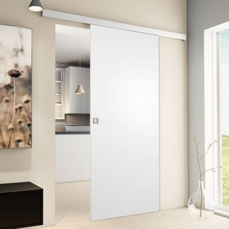 Porte coulissante intérieure Inova, 75 x 203 cm, bois blanc, 2 poignées différentes, fermeture Softclose en option