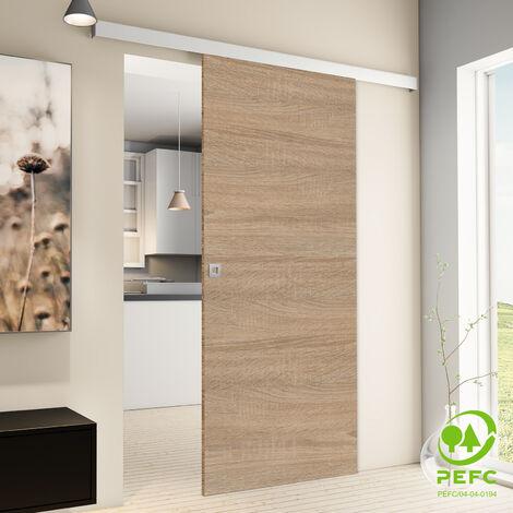 Porte coulissante intérieure Inova, 75 x 203 cm, chêne, 2 poignées différentes, fermeture Softclose en option