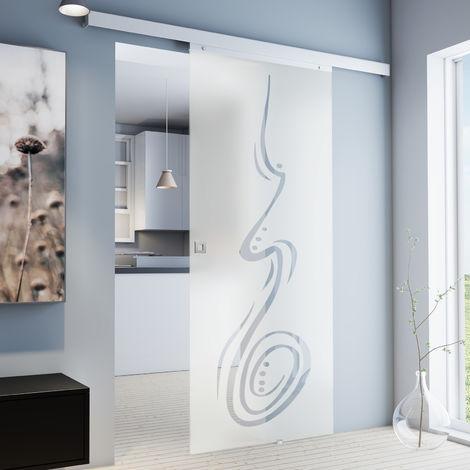 Porte coulissante intérieure Inova, 75 x 203 cm, porte vitrée décor curved, 3 poignées différentes, fermeture Softclose en option