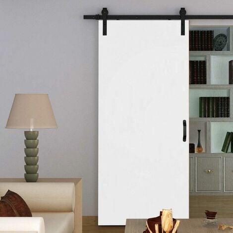 Porte coulissante intérieure Inova, 77 x 206 cm, bois blanc, rail apparent noir