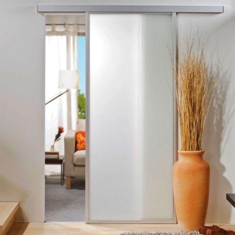 Porte coulissante intérieure Inova, 86 x 203 cm, verre blanc mat, cadre alu