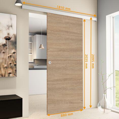 Porte coulissante intérieure Inova, 88 x 203 cm, chêne, 2 poignées différentes, fermeture Softclose en option