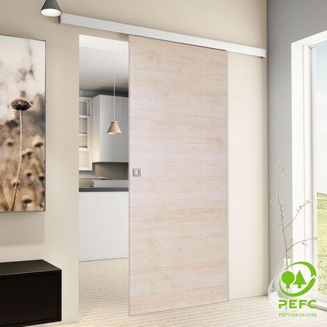 Porte coulissante intérieure Inova, 88 x 203 cm, érable, 2 poignées différentes, fermeture Softclose en option