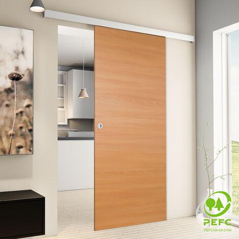 Porte coulissante intérieure Inova, 88 x 203 cm, hêtre, 2 poignées différentes, fermeture Softclose en option