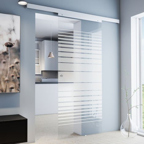 Porte coulissante intérieure Inova, 88 x 203 cm, porte vitrée rayures opaques, 3 poignées différentes, fermeture Softclose en option