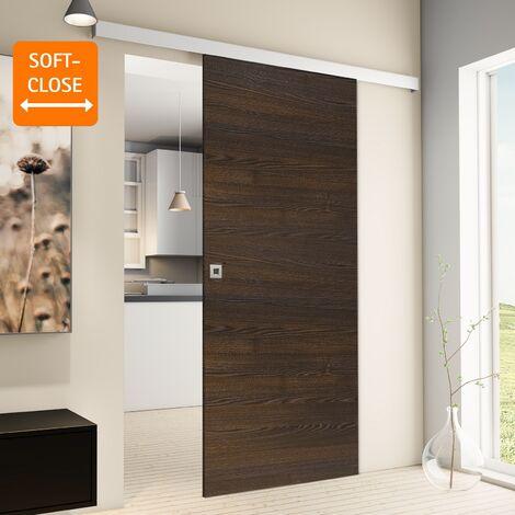 Porte coulissante intérieure Inova, 88 x 203 cm, wengé, 2 poignées différentes, fermeture Softclose en option