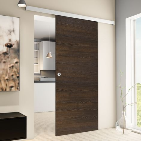 """main image of """"Porte coulissante intérieure Inova, 88 x 203 cm, wengé, 2 poignées différentes, fermeture Softclose en option"""""""