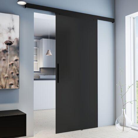 Porte coulissante intérieure Inova, 90 x 203 cm, porte vitrée opaque anthracite, poignée barre noire