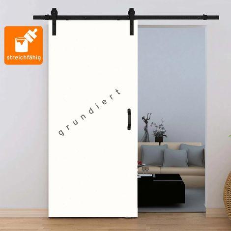 Porte coulissante intérieure Inova, 90 x 206 cm, à peindre soi-même, bois blanc, 3 poignées différentes, 3 rails différents, fermeture Softclose en option