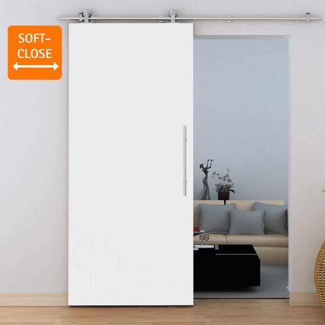 Porte coulissante intérieure Inova, 90 x 206 cm, bois blanc, rail apparent